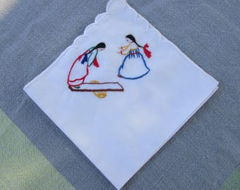 Cottage industry Korean hankie handkerchief hand embroidered of two girls on teeter totter mint condition