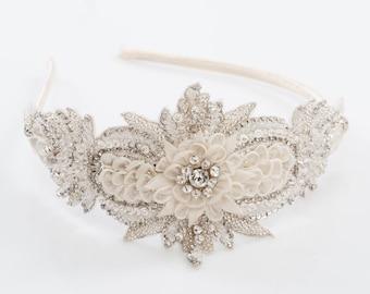 Iridia wedding headband, Bridal beaded headband, wedding headpiece, bridal headpiece, wedding beaded headpiece, bridal hair accessory