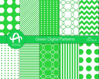 Green Digital Patterns Digi Download Scrapbook Digital Paper Downloads