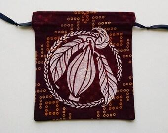 Burgundy and White Cacao Drawstring Bag