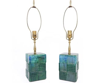 Mid Century Modern Green Blue Drip Glaze Ceramic Lamp Pair - FREE SHIPPING - Rewired Rectangle Block Brass Hardware Table Lamps with Finials