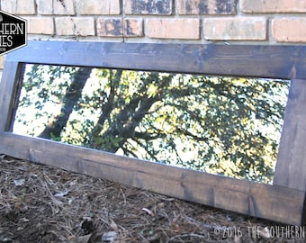 Large Farmhouse Mirror | Wall Mirror | Vintage Mirror | Modern Rustic Decor | Wall Hanging | Vanity Mirror | Espresso