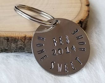 HOME SWEET HOME Hand Stamped Metal Key Chain