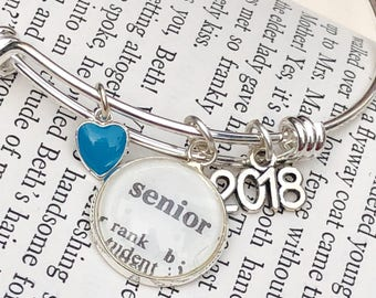 Class of 2018 Charm Bracelet, High School Senior Dictionary Word Bangle, Expandable Bracelet Gift for Teen,
