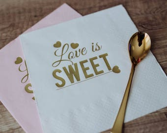 Personalized Napkins, Love is sweet, Personalized Napkins, Custom Napkins, Wedding Napkins, Monogramed Napkins, Custom Luncheon Napkins