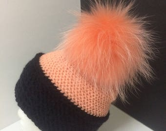 Large Pom pom Beanie Hat, 100% Cashmere, Angora, Merino Wool,Peach and Black,Large Genuine Raccoon Fur Pompom,Great gift for Women and Teens