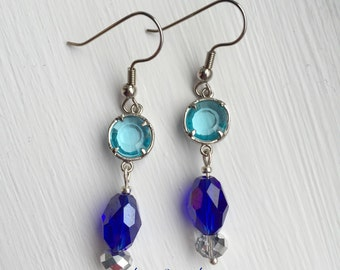 Aqua Marine Earrings - Royal Blue Crystal Earrings - Aqua Blue Earrings - Silver Earrings - Aqua Jewelry - Glass Earrings - Crystal Earrings