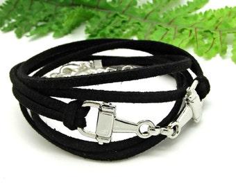 Horse Snaffle Bracelet, Snaffle Bit Triple Wrap Bracelet, Black Suede Cord, Silver Plated, Handmade, Equestrian Gift, Horse Lover, Gift