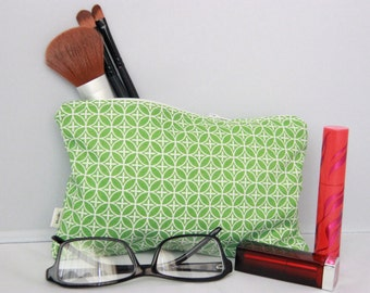 Small Bag - Green & White Patterned - Zippered Pouch - Cosmetic Bag - Pencil Case