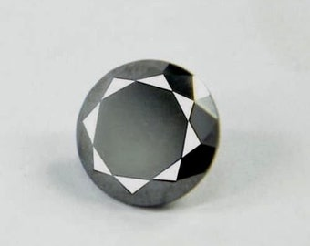 1.75Ct Natural Beautiful Round Cut Z Black Moissanite Gemstone AP77
