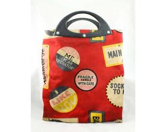 70s Hippie Purse - 1960s 1970s Maroon Canvas Tote Bag - Cute Love-In Phrases - Sock It To Me - Bohemian Fad Handbag - Novelty Print - 48007