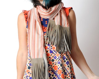 Womens striped scarf with leather fringes, Wide orange striped shawl, Womens accessories, Fall fashion, MALAM