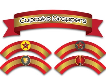 Printable Digital PDF File - Cupcake Wrappers Hollywood Red
