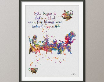 Mad Hatter  Tea Party Quote Alice in Wonderland Watercolor Print  Tea Time Kitchen Art For Kids Wedding gift Wall Hanging [NO 446]