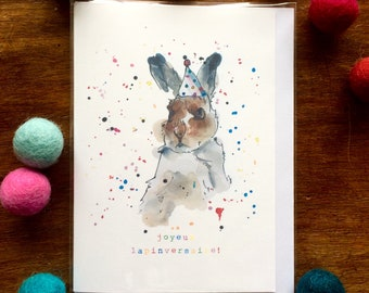 "French Birthday Card - Hare  ""Joyeux Lapinversaire"" Card - Multicolour - Illustration"