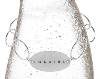 customizable sterling bracelet large oval links