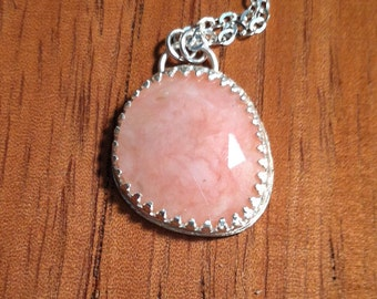Sterling Silver Avalon Pendant with Rose Cut Pink Opal