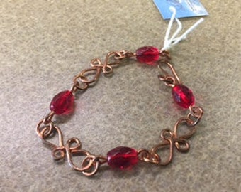 Copper Loops with Red Beads
