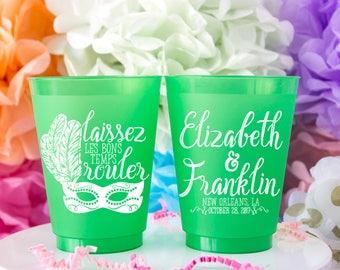 Mardi Gras Cups, Mardi Gras Favor, New Orleans Wedding, NOLA Wedding, Louisiana Wedding, NOLA Bachelorette, Frosted Cups, Shatterproof Cup