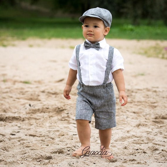Ring bearer newsboy outfit Baby boy linen suit Wedding boy