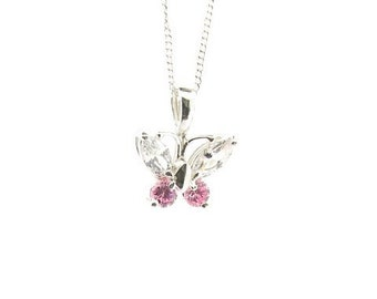 Sterling Silver Pink & Clear Cubic Zirconia Butterfly Pendant