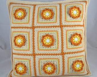 Sandy-coloured Scrappy Flowers Granny Square Crochet Cushion
