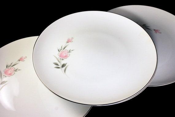 Dinner Plates, Royal Court, Belle Rose, Pink Rose and Bud, Set of 4, Fine China