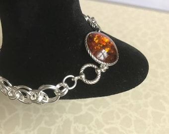 Sterling Silver Cognac Amber with Helm Chainmaille bracelet