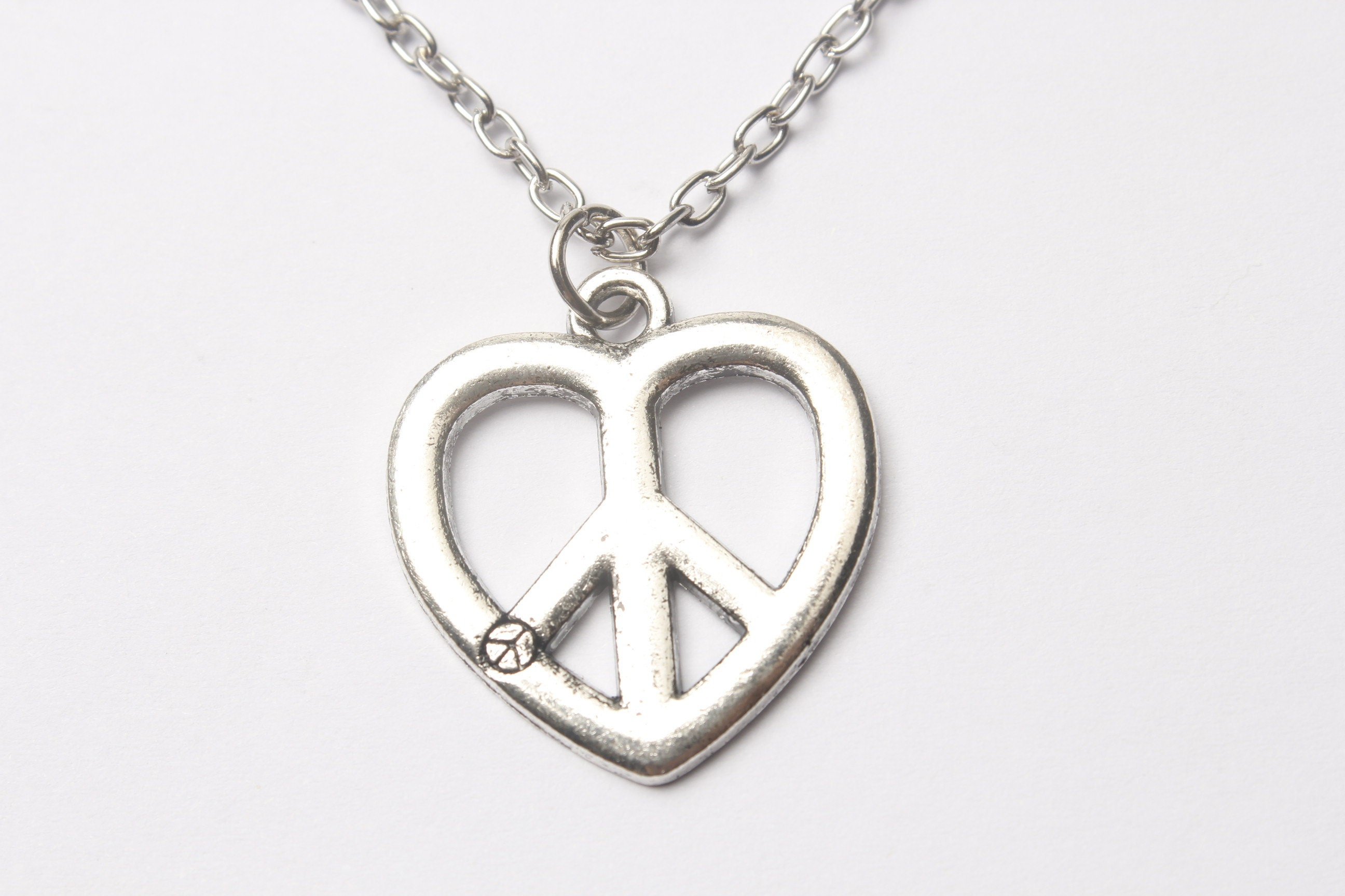 mens peace sign bling c p teqhsfd sterling leather pendant inches silver necklace jewelry