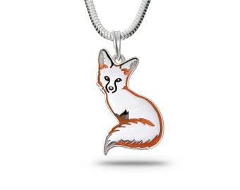 Fox pendant Fox necklac Fox jewelry Silver fox Animal jewelry Pup Puppy fox Foxes