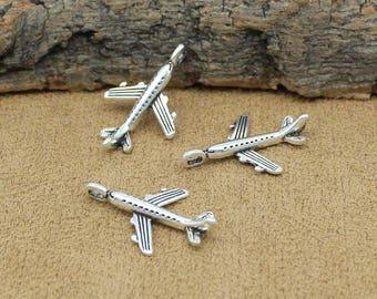 50pcs Airplane Charms, Antique Tibetan Silver Aircraft Plane Charms Pendant 24x15mm C2079-Y