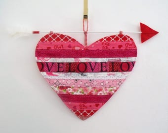 Machine Quilted Heart/Valentine Door Hanger/Wreath with Cupid's Arrow