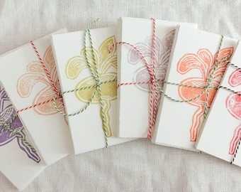 Packet of 6, block-printed notecards with envelopes, multi-colored