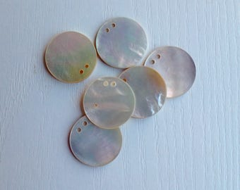 Mother-of-Pearl Disc Buttons, Vintage, Natural Shell Buttons, 7/8 Inch, Set of 6, Two Off-Center Hole