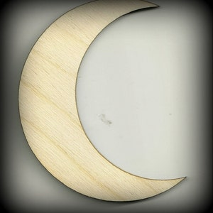 Moon, Half Moon, Crescent Moon, Wood Cutout Shape, Outhouse Decoration, Waxing Moon, Baby Mobile Cutouts, Unfinished, DIY, Scrap Book Items