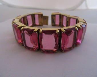 Beautiful Vintage 1940s Hot Pink Crystal Bracelet