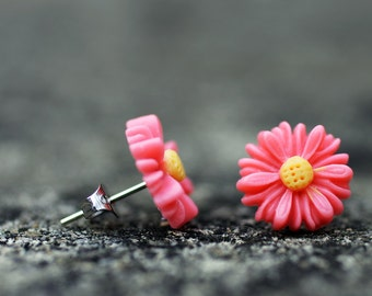 Pink and Yellow Daisy Flower Stud Earrings