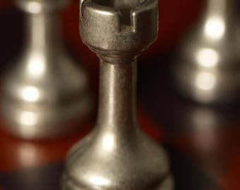 Chess Pieces Photo, Gifts for Him, Silver and Brown Still Life Photography Wall Art, Office Decor, Fine Art Print, Chess Board Art