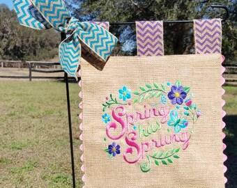 Spring Has Sprung - Custom Embroidered Burlap Garden Flag - Spring Word Art