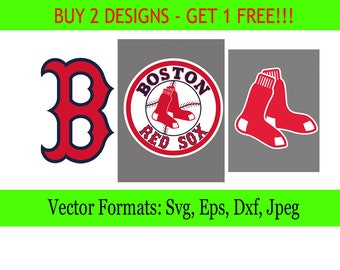 Boston Red Sox logos in SVG / Eps / Dxf / Jpg files INSTANT DOWNLOAD!