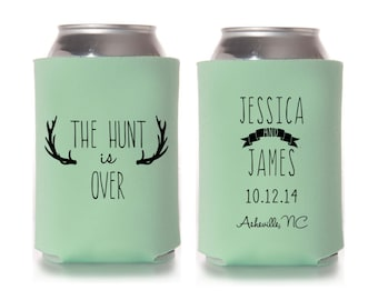 Fall Wedding Favors - The Hunt is Over Personalized Rustic Can Coolers, Destination Favors for Guests, Country Southern Wedding Ideas