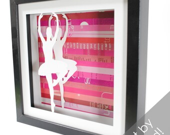 ballerina shadowbox made from recycled magazines, dance, beautiful, graceful, ballet, girls