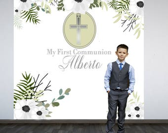 Holy Communion Photo Backdrop- Photo Booth Backdrop-First Communion Backdrop, Religious Party Backdrop, Floral Embrace Backdrop