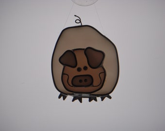 Stained Glass Suncatcher - Pig (205)