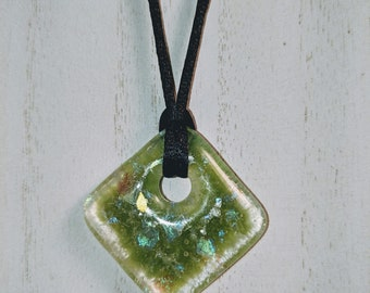 Green Dichroic Fused Glass Pendant Necklace