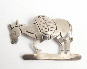 Vintage Sterling Brooch Taxco Sterling Silver Burro Brooch Donkey Pin Mexican Pack Mule Jalvarez Mexico Tooled Silver Vintage Southwest