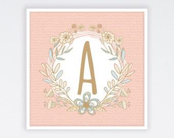 Nursery Monogram Printable | Girl Monogram Print | Monogram Nursery Print | Monogram Print | Monogram Nursery Art