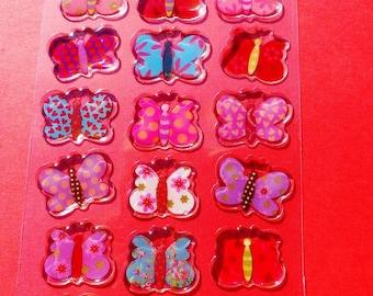 27 butterflies multicolor 3D epoxy butterfly embossed stickers
