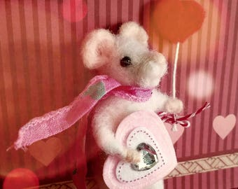 Sweet Valentine Needle Felted  Mouse