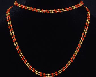 Italian Coral - Coral Necklace - Estate 18K Solid Gold Italian Mediterranean Salmon Orange Red Coral Double Chain Long Necklace - ExoticGold